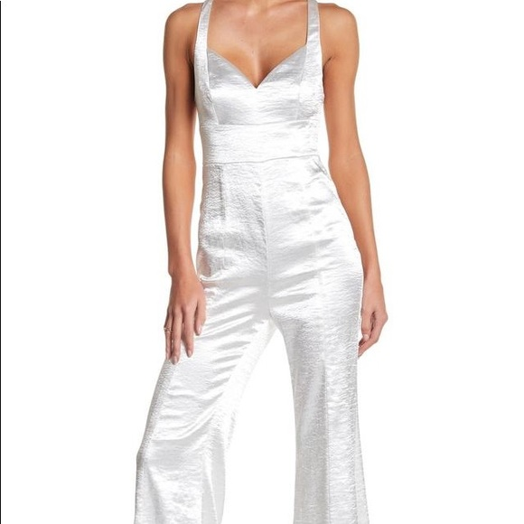 Free people silver crush jumpsuit